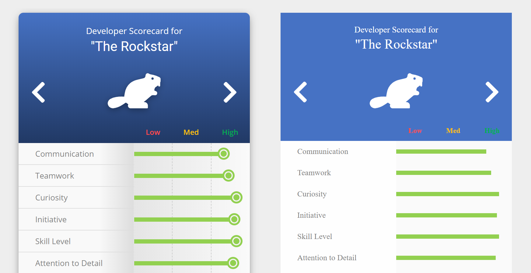The SoftSkills.app interface with and without CSS effects