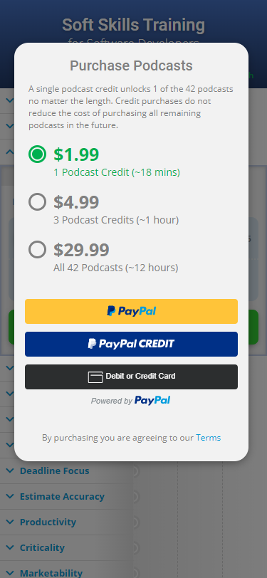 Purchase podcast popup